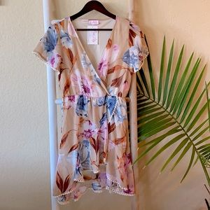 Pink lily boutique crossover ruffle floral dress